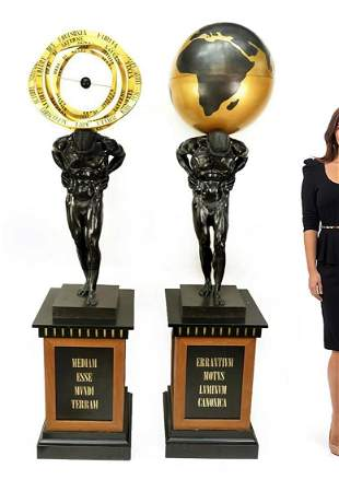 """A Pair of Monumental Bronze Figures of Atlas 93"""" Height"""