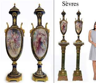 A PAIR OF SEVRES GILT BRONZE MOUNTED COVERED URNS