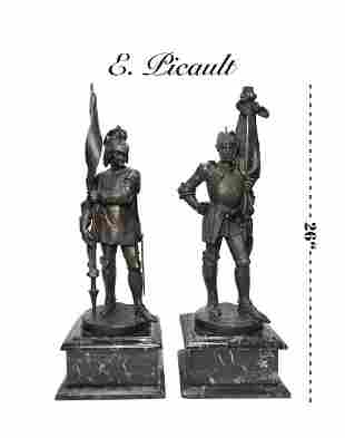 Pair of L. Picault Patina-ted Bronze Statue Of Soldiers