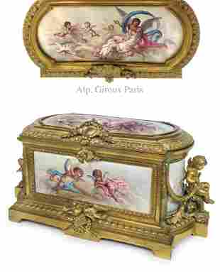 A. Giroux Enamel-Copper Figural Gilt Bronze Jewelry Box