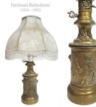 19th C French Ferdinand Barbedienne Bronze Lamp, Signed