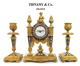 19th C. Tiffany & Co Champleve Figural Bronze Clock Set