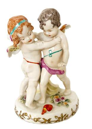 Cupids Hand Painted Porcelain Figurine Group