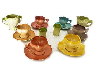 19 C. French Multicolor Cup & Saucer Set (10 Pcs)