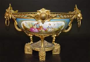 19th C. French Sevres Gilt Bronze Porcelain Centerpiece