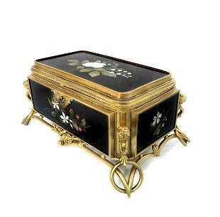 19th C. Figural Bronze & Pietra Dura Jewelry Box