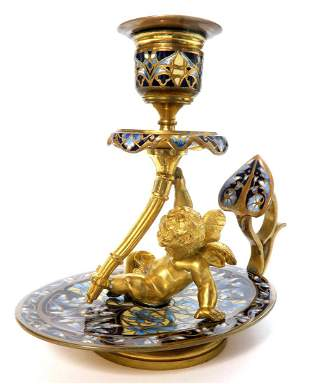 19th C. Bronze & Champleve Figural Candlestick