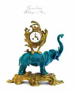19th C. French Chinoiserie Bronze & Porcelain Clock