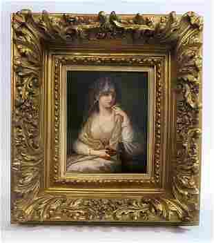 A Large Framed Berlin KPM Plaque of a Maiden
