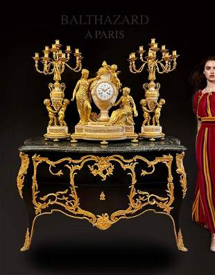 19th C. French Figural Bronze Marble Clock Set