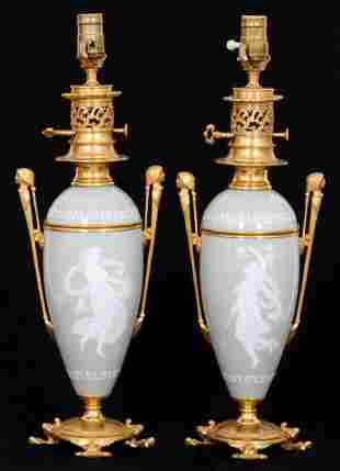 Pr. Pate Sur Pate Bronze Mounted Lamp Bases