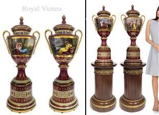 A PAIR OF LARGE AUSTRIAN ROYAL VIENNA PORCELAIN VASES