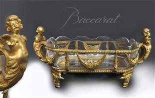 Baccarat Crystal/Dore Figural Bronze Centerpiece 19th C