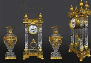 19th C. French Bronze & Baccarat Crystal Clock Set