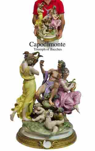 Triumph of Bacchus, A Large Capodimonte Group Figurine
