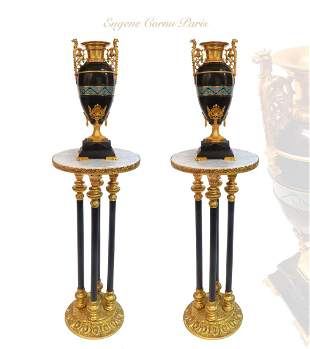 A Pair of Champleve/Black Marble Gilt Bronze Vases