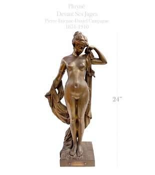 PRYNE DEVANT SES JUGES, 19th C. Patinated Bronze Statue