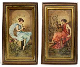 19th C. Large Pair of French Hand Painted Plaques/Tiles