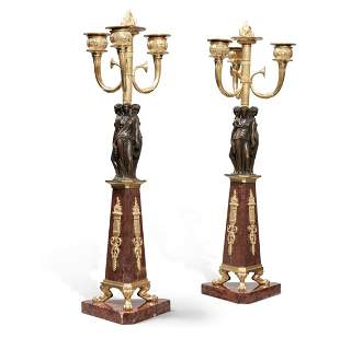 A Pair of Empire Gilt Bronze Rouge Marble Candelabras