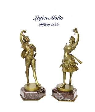A Pair of Tiffany & Co. Bronze Figures By Lafon Mollo