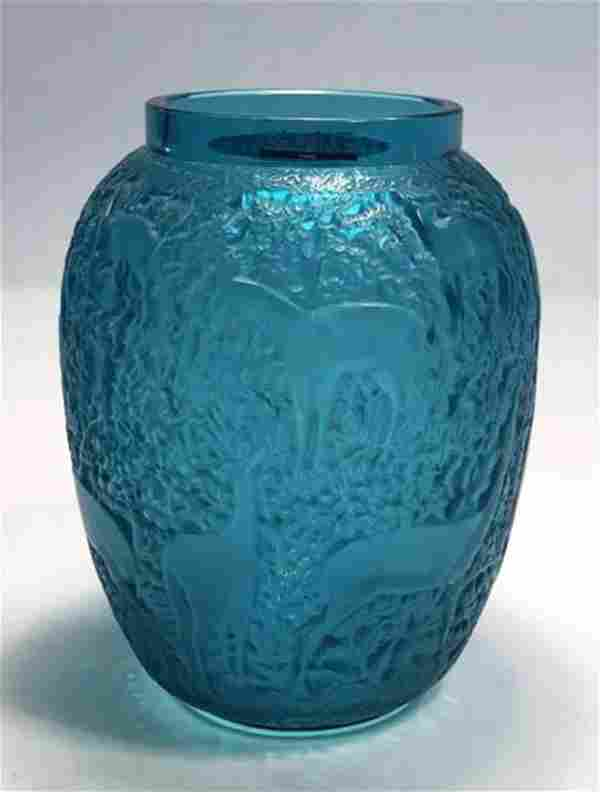 Biches, A Lalique Blue Turquoise Crystal Vase, Signed