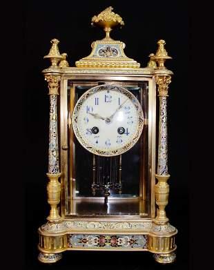 Very Fine French Champleve Gilt Bronze & Enamel Clock