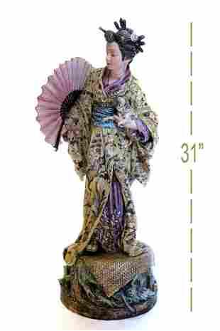 19th C Large Continental Figure of a Geisha with Pugdog