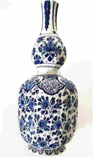 A Dutch Royal Delft Blue Hand Painted Vase, Signed