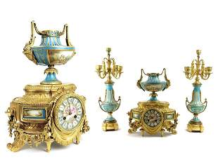 A French Sevres Bronze Clock Set, 19th C.