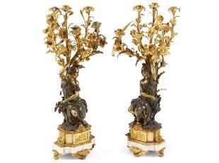 A Pair of Napoleon III Gilt Bronze Figural Candelabras