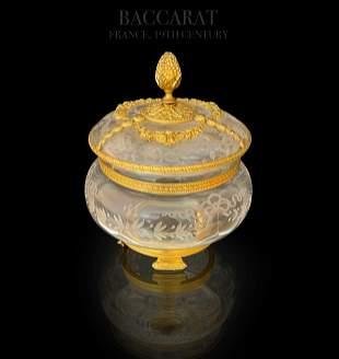 19th C. Baccarat Crystal Dore Bronze Casket/Jewelry Box