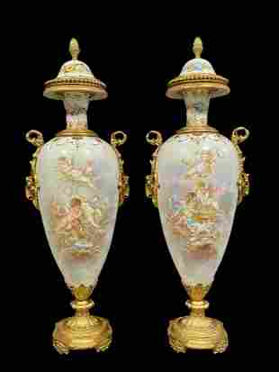 A Pair Of 19th C Sevres Hand Painted Bronze Lidded Urns
