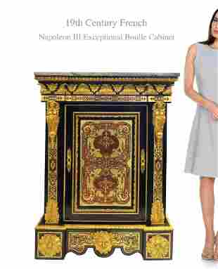 19th C. FRENCH BOULLE FIGURAL BRONZE CABINET