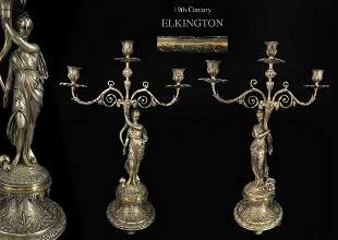 Large Pair of Elkington Silver-Plated Candelabras