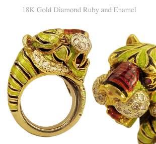 18K Gold Diamond Ruby & Enamel Tiger Pinky Ring