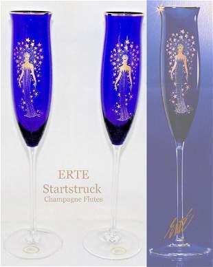 Starstruck, A Pair of ERTE Cobalt Blue Champagne Flutes