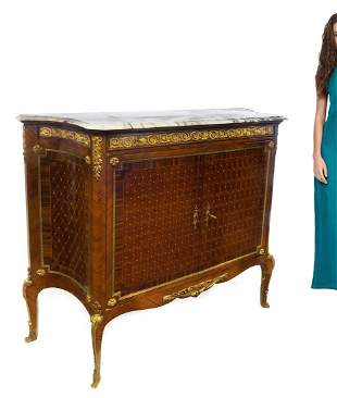 Large 19th C French Bronze/Parquetry Marble Top Commode