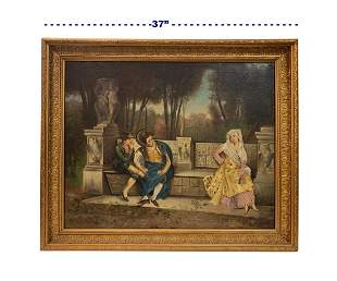 19th C. French Oil on Canvas Painting By E. Ferrary