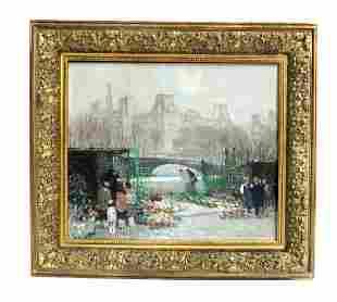 Jules Rene Herve (1887-1981) Large O/C, Flower Market
