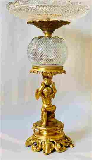 19th C. Gilt Bronze & Baccarat Crystal Centerpiece