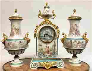 French Bronze & Sevres Hand Painted Porcelain Clock Set