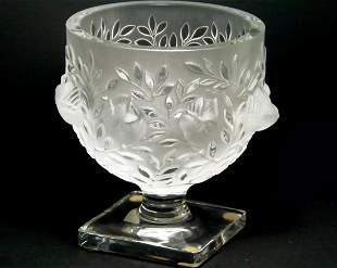 A LALIQUE Birds & Leaves Frosted Crystal Pedestal Vase