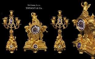 19th C. Tiffany & Co. Bronze Figural Clock set