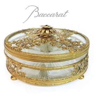 19th C. French Baccarat Crystal Dore Bronze Candy Dish