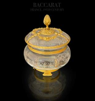 19th C Baccarat Engraved Crystal Dore Bronze Casket Box