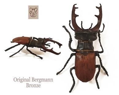 The Stag Beetle, F. Bergman Signed Bronze Figurine, COA