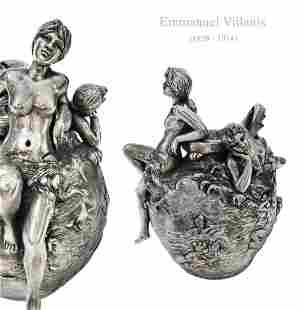 Sirens of The Sea, Emmanuel Villanis Silver-Plated Vase
