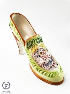 Vintage Italian Capodimonte Signed Decorative Heel Shoe