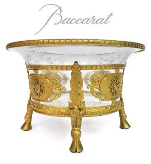 19th C. French Baccarat Crystal Dore Bronze Centerpiece