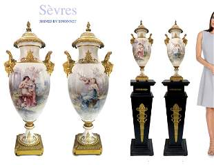 A Pair of 19th C. Sevres Bronze Urns, SIMONNET Signed